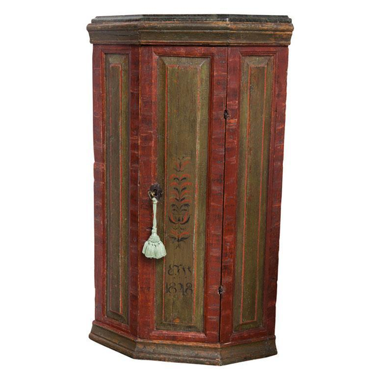 19th C. Finnish Green and Red Painted Corner Cabinet Eleish Van Breems Home
