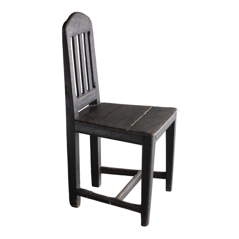 19th C. Swedish Farm Chair, Painted Black