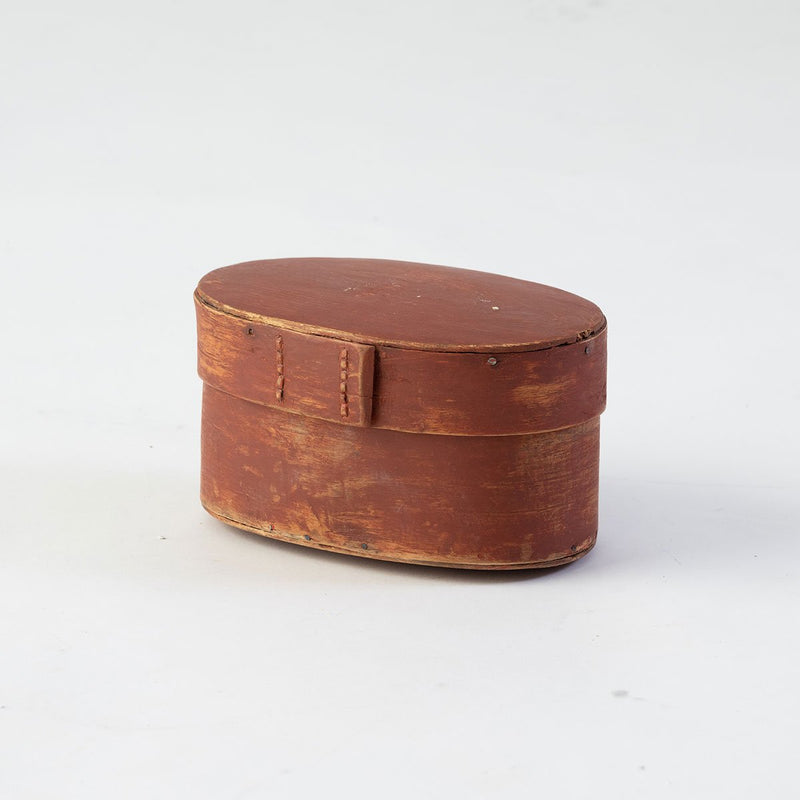19th C. Swedish Painted Red Bentwood  Oval Box