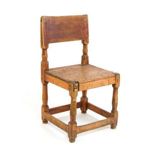 19th C. Swedish Red Painted Pine Farm Chair