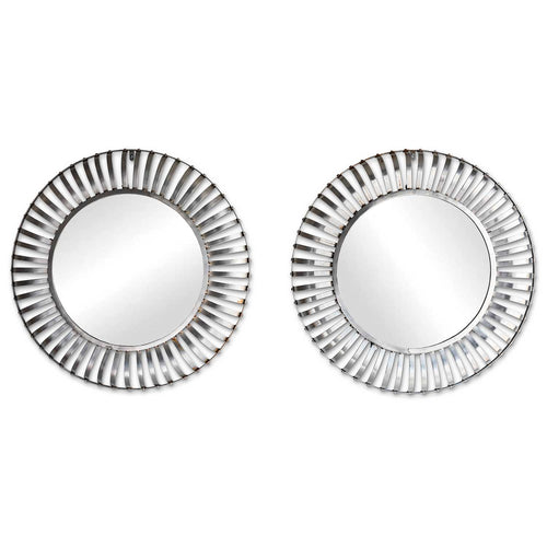 A Pair of Round Steel Industrial Mirrors