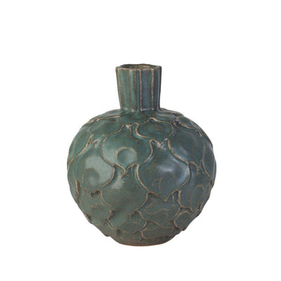 Artichoke Clay Vase Small-Forest Grey-Eleish Van Breems Home
