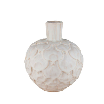 Artichoke Clay Vase Small-White-Eleish Van Breems Home