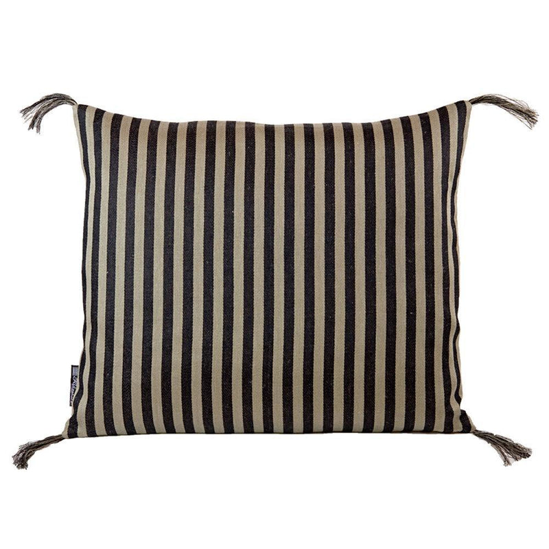 Black Linen Narrow Stripe Pillow Eleish Van Breems Home