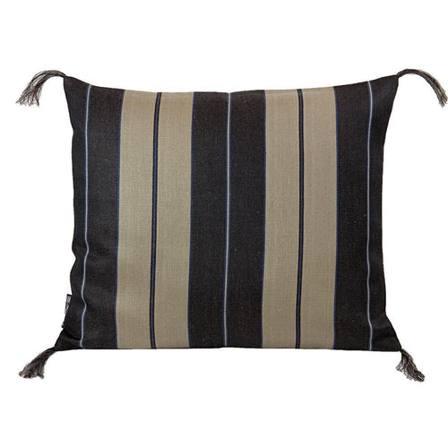 Black Wide Stripe Linen Pillow