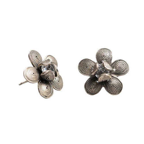 Blue Centered Flower Studs