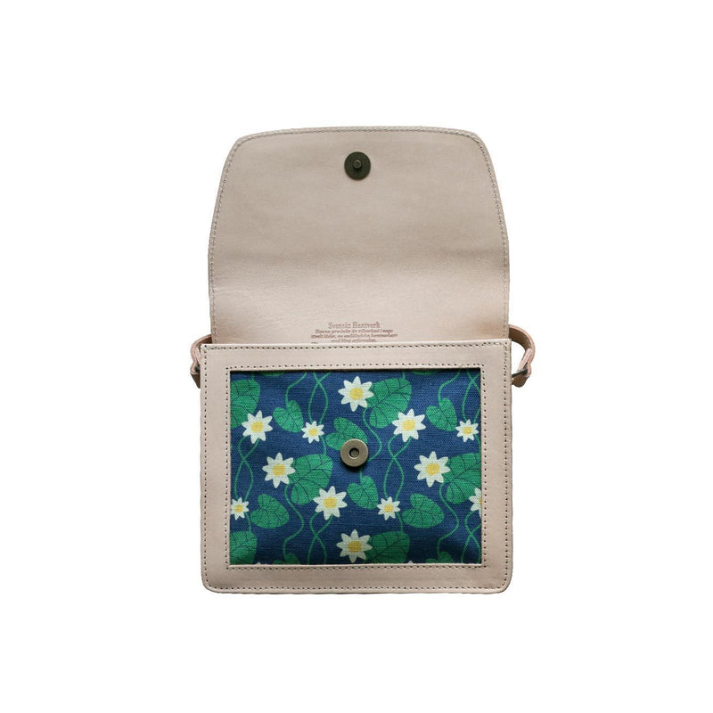 Blue Water Lily Leather Handbag-Eleish Van Breems Home