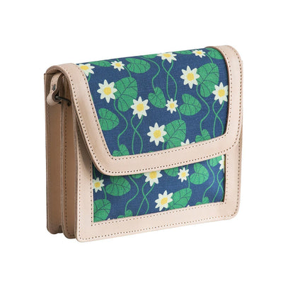 Blue Water Lily Leather Handbag by Floryd Eleish Van Breems Home
