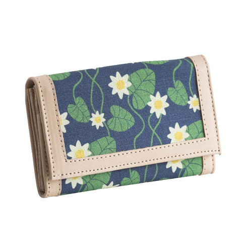 Blue Water Lily Leather Wallet by Floryd