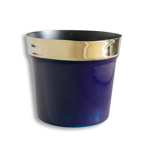 Brass and Navy Flower Pot Large