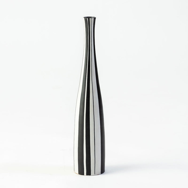 Ceramic Swiss Vase , Black & White Vertically Striped