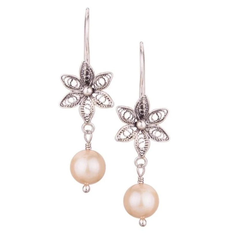 Champagne Pearl Drop Earrings