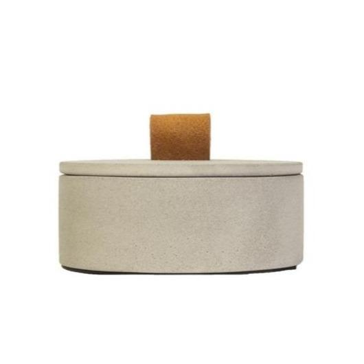 Concrete Large Leather Loop Box Nature Grey Eleish Van Breems Home