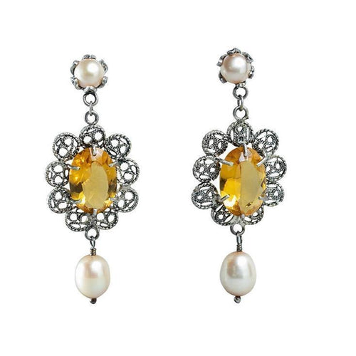 Crystal Frame Earrings with Pearls