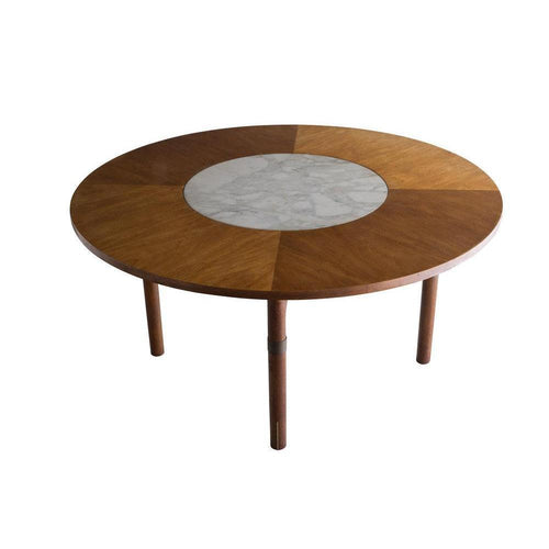 Danish Coffee Table with Marble Centerpiece, Scandinavian 20th c
