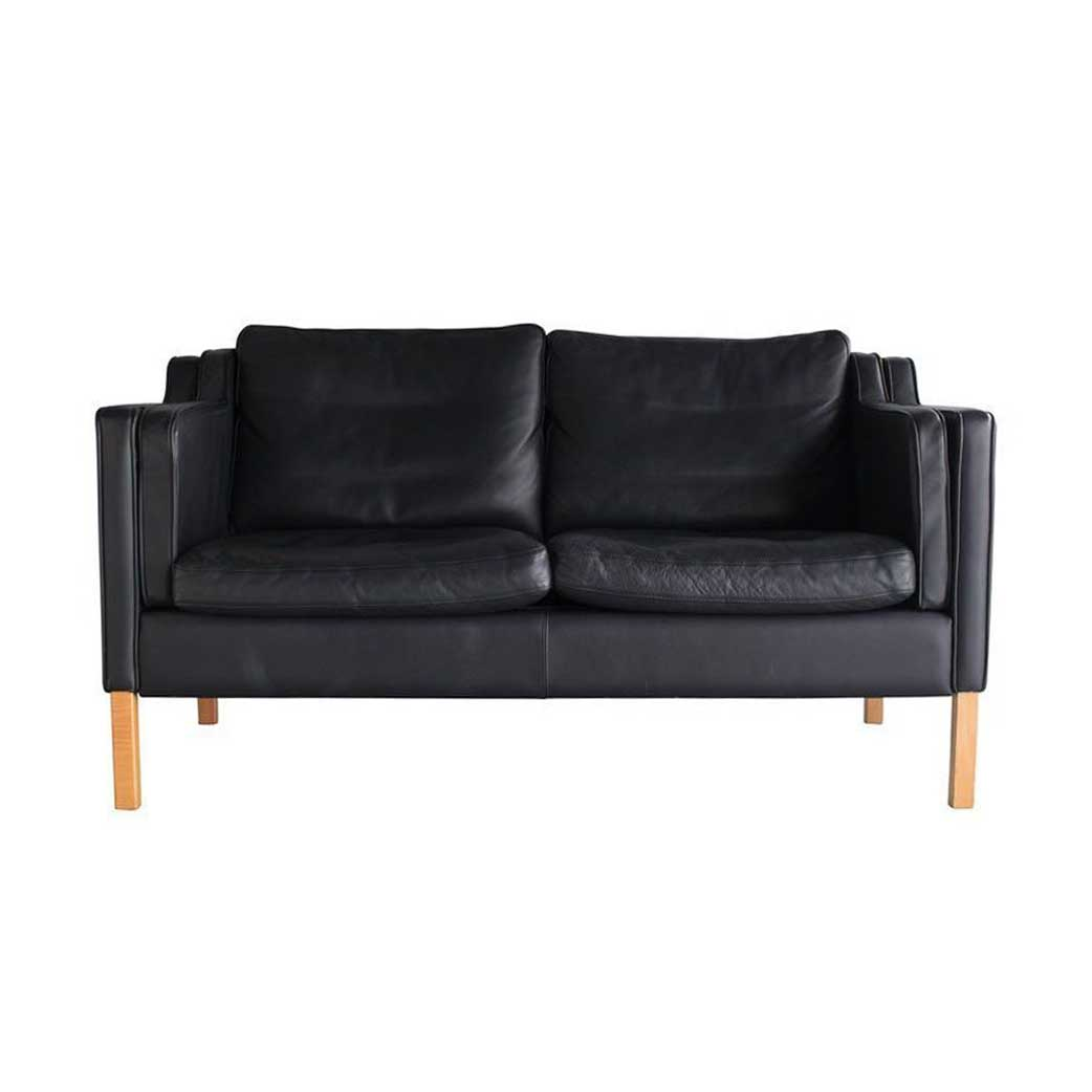 Danish Mid-Century Black Leather Loveseat Sofa