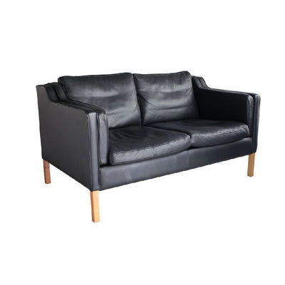 Danish Mid-Century Black Leather Loveseat Sofa Eleish Van Breems Home