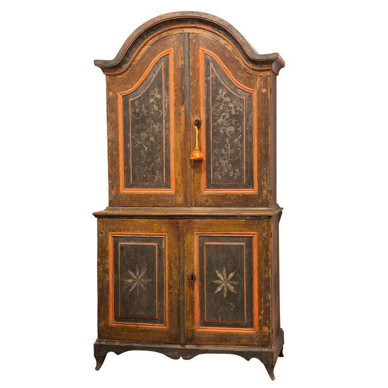 E. 19th C. Finnish Painted Cupboard with Floral and Star Motifs