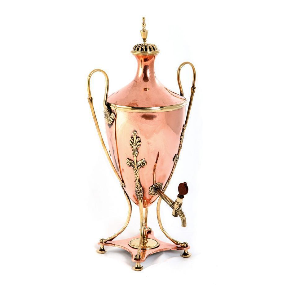 E. 19th C. Swedish Copper and Brass Samovar
