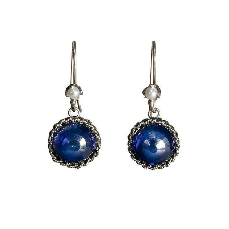Filigree Dark Blue Drop Earrings Eleish Van Breems Home