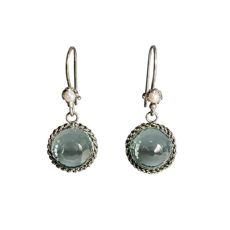 Filigree Light Blue Drop Earrings