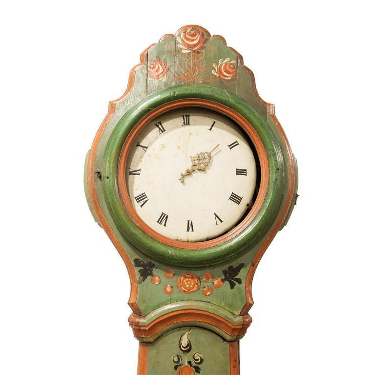 Finnish Floral Tall Case Clock, late 18th C.