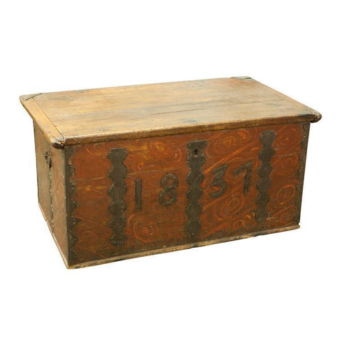 Finnish Folk Trunk with Iron Dating