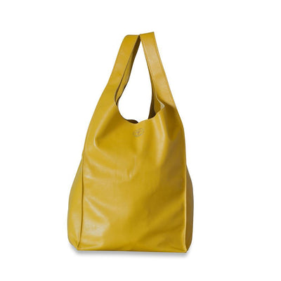Gigi Leather Tote Bag-Yellow-Eleish Van Breems Home