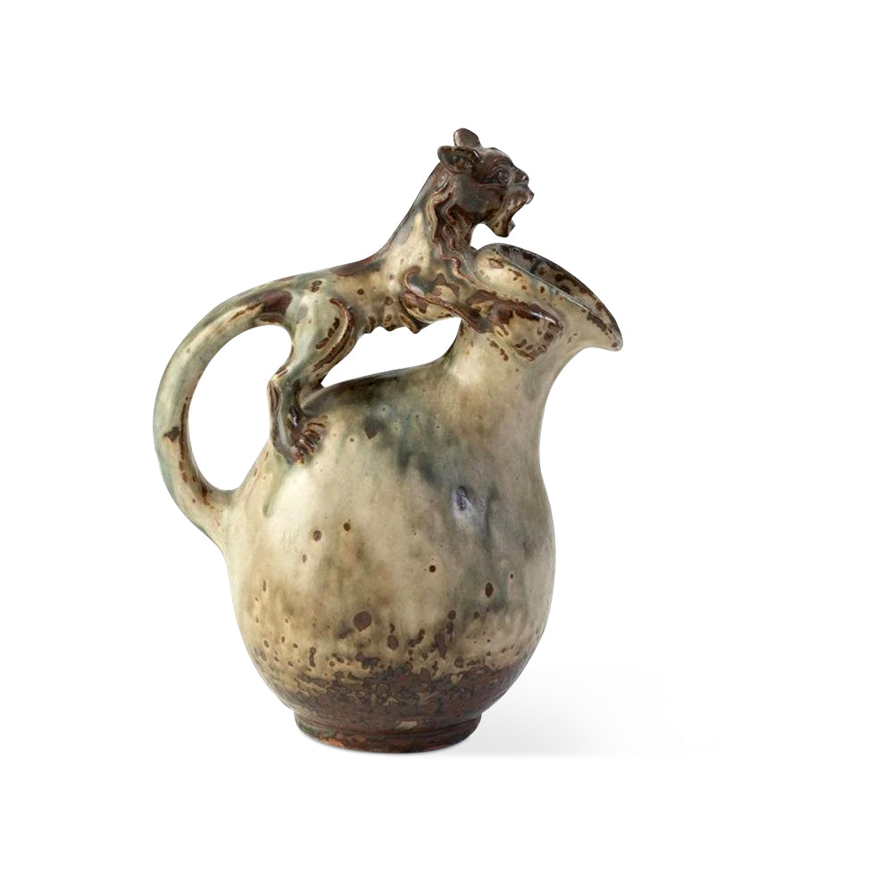 Glazed Jug with Lion Handle