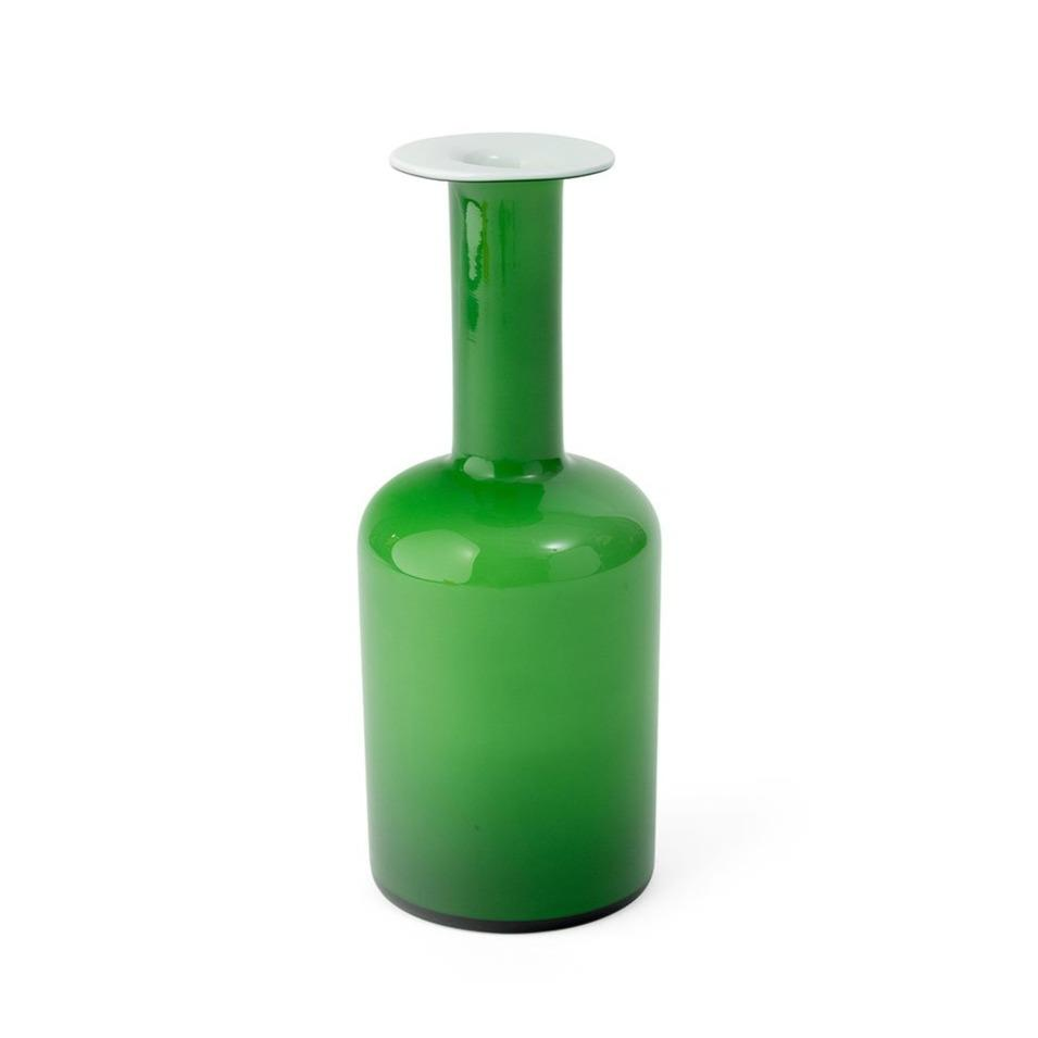 "Green Cased Glass ""Gulvvase"" Vase by Otto Brauer"