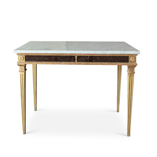 Swedish Gustavian Console Table with Glass Panels