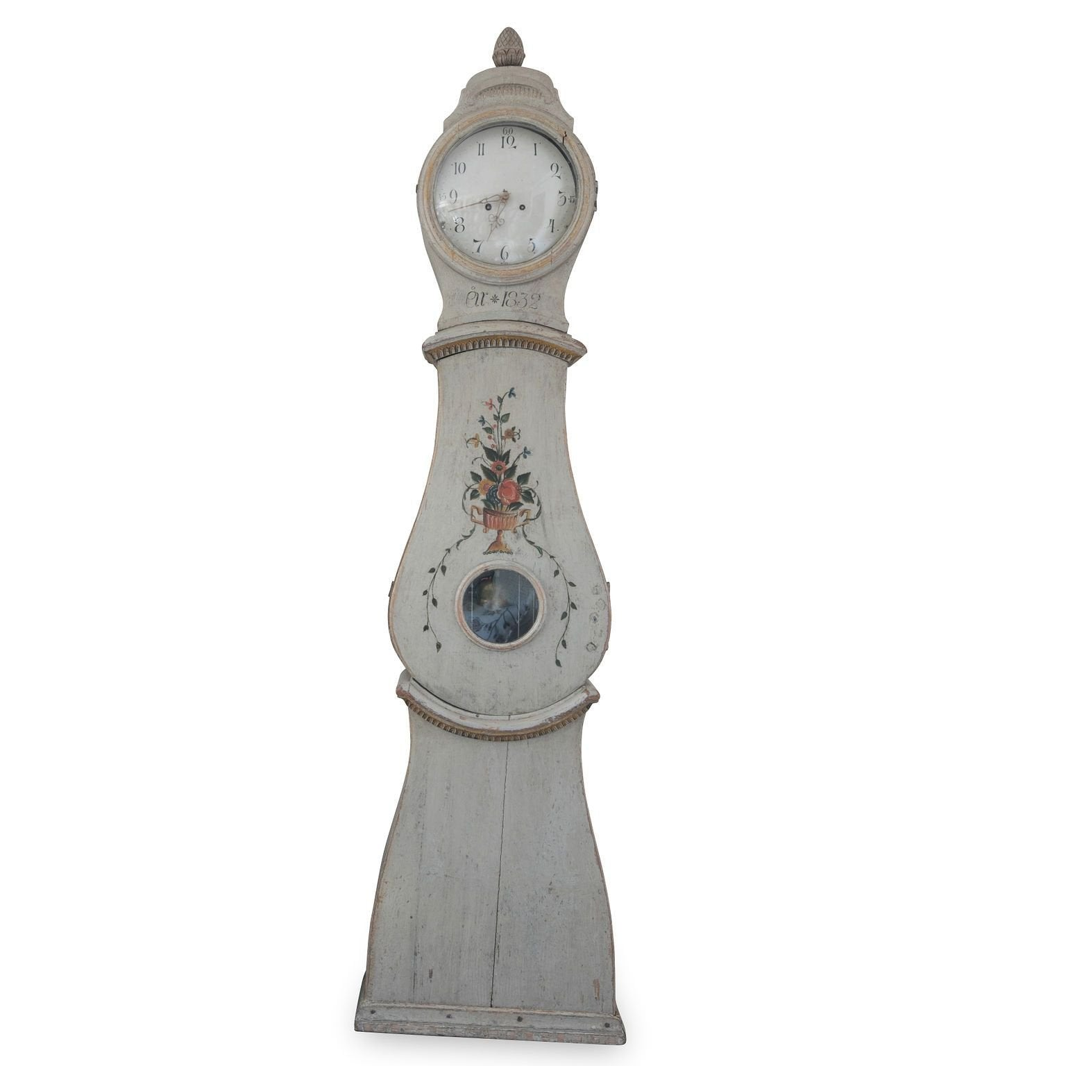 Gustavian Floral Tall Case Clock, early 19th c. Swedish
