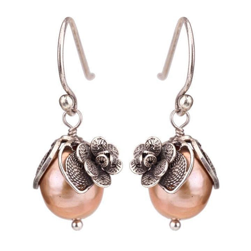 Hanging Tulip Pearl Earrings