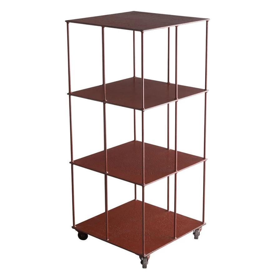 Industrial Red Metal Shelving Unit