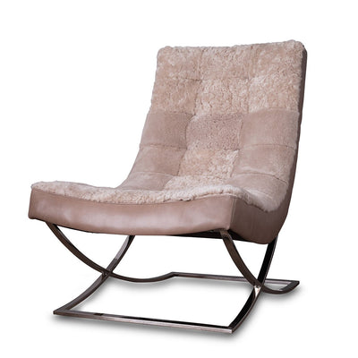 Leather and Shearling Chair Dusty Beige Eleish Van Breems Home