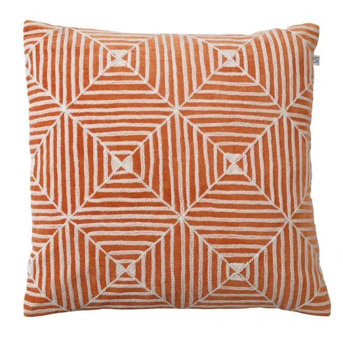 Orange Kulgam Embroidered Velvet Pillow-Eleish Van Breems Home