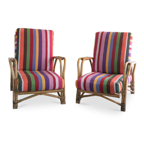 Pair of Swedish Bamboo Lounge Chairs, 1950's
