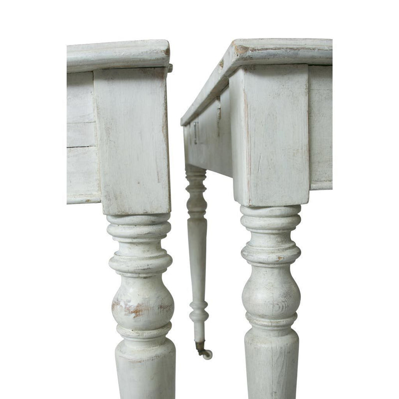 Pair of Swedish White Demi-Lune Console Tables, Mid 20th century