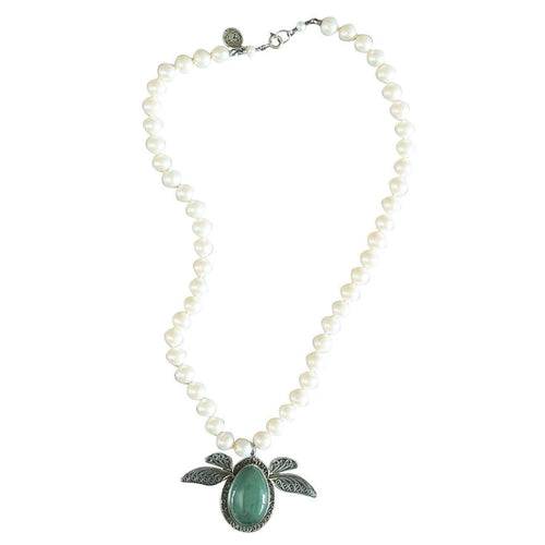 Pearl Lady Bug Necklace