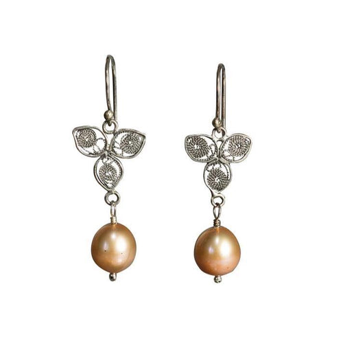 Pearl Leaf Earrings