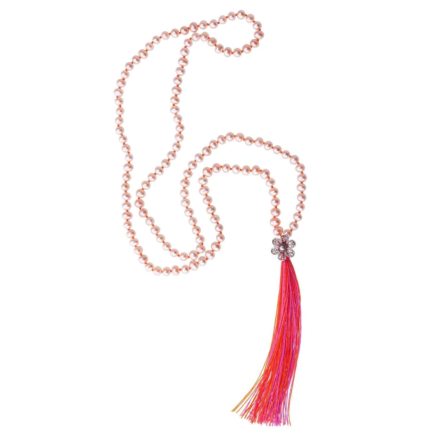 Pink Pearl Coral Cord Necklace
