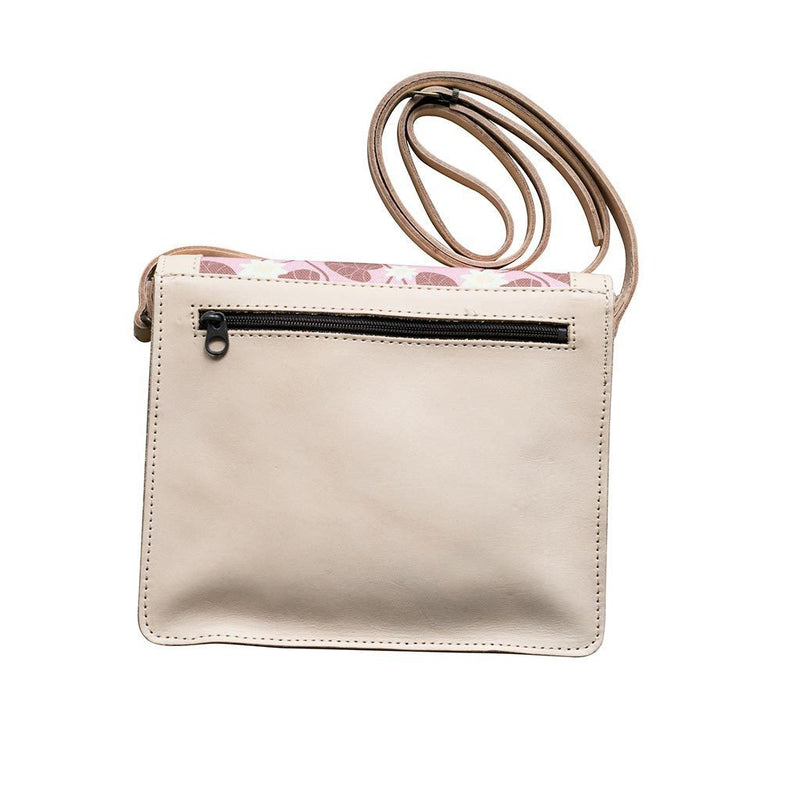 Pink Water Lily Leather Handbag