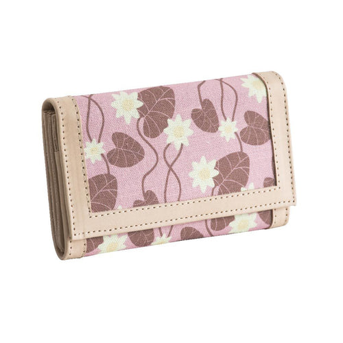 Pink Water Lily Leather Wallet