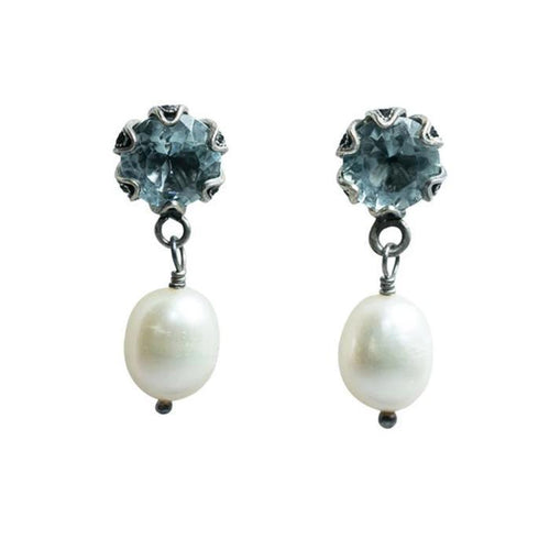 Post Earring with Aqua stone in Tulip setting with White Pearl Drop