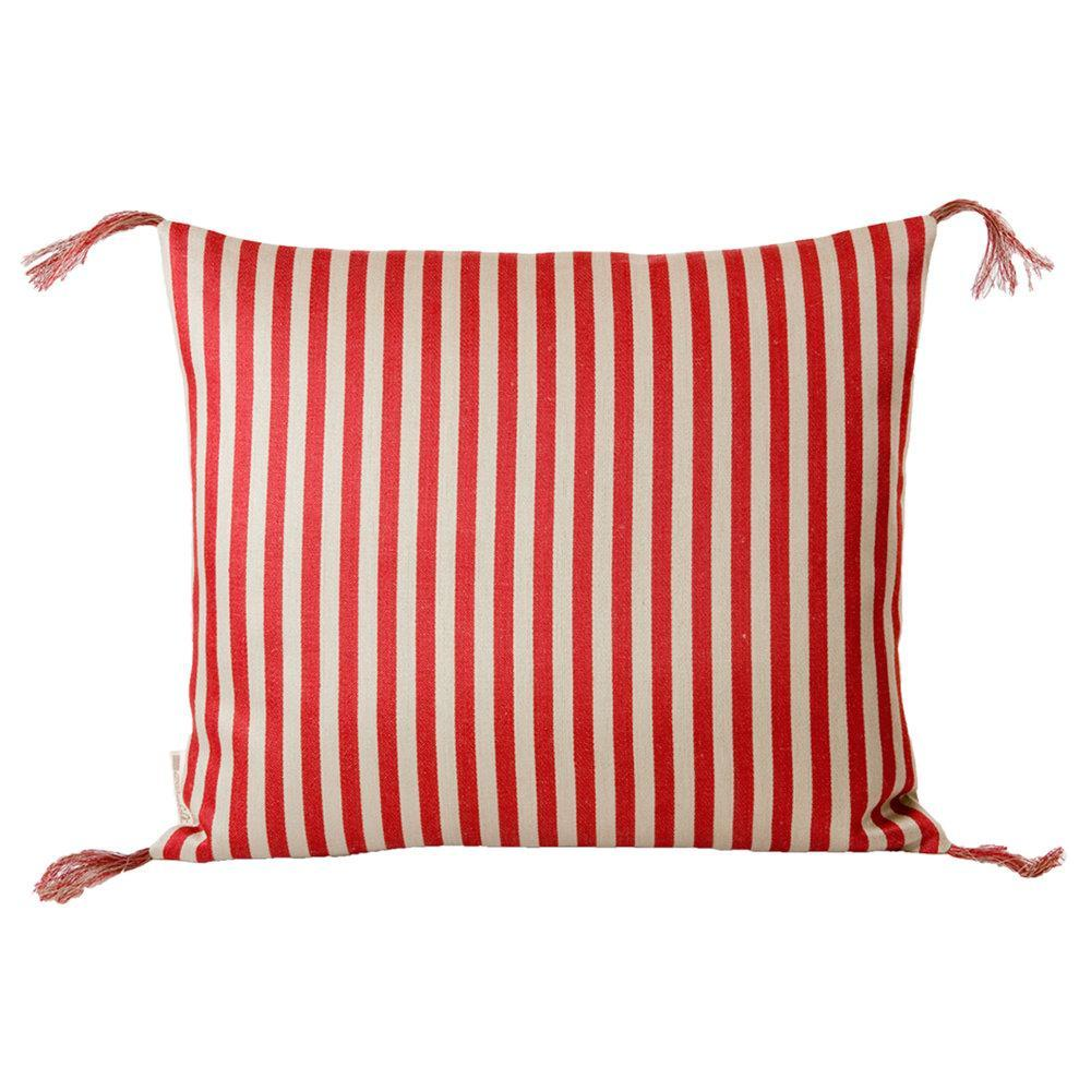Red Narrow Stripe Linen Pillow Eleish Van Breems Home