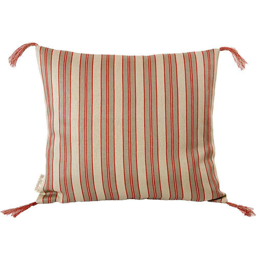 Red Stripe Linen Pillow