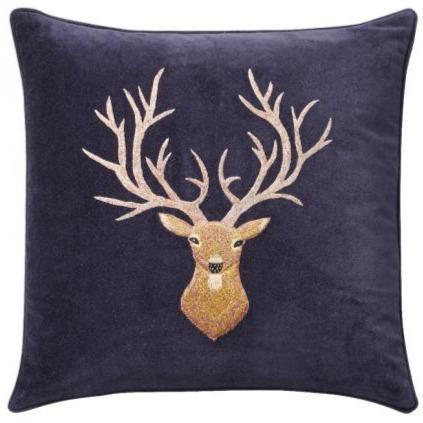 Reindeer Velvet Embroidered Pillow