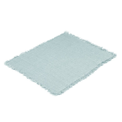 Rustic Placemat with Fringe-Ice Blue-Eleish Van Breems Home