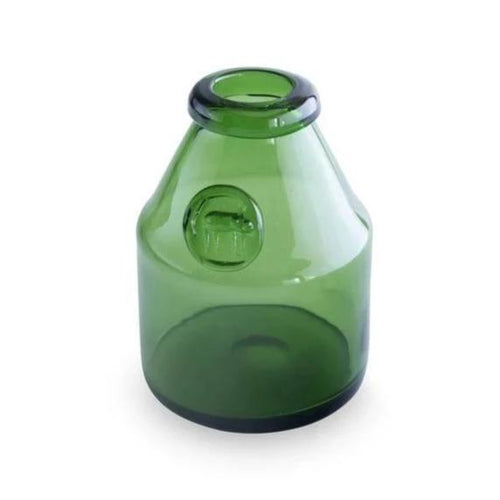 Swedish Handblown Green Glass Vase with Cat Medallion