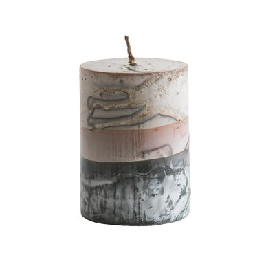 Tar Pillar Candle Beige Stripe Eleish Van Breems Home